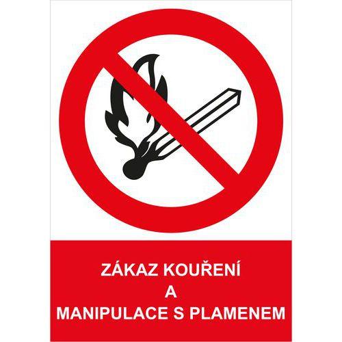 Zákazová bezpečnostní tabulka - Zákaz kouření a manipulace s pla