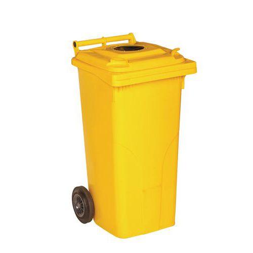 Plastová venkovní popelnice na tříděný odpad s otvorem, objem 120 l, žlutá