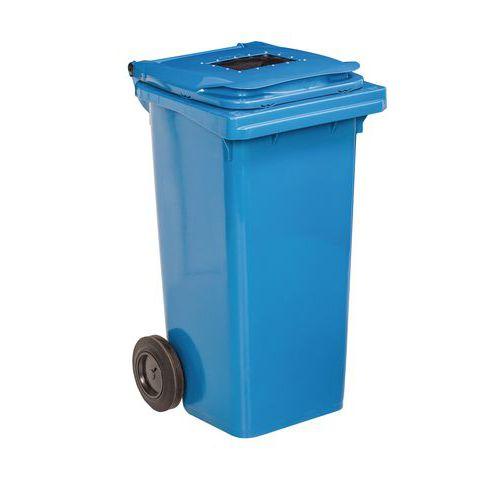 Plastová venkovní popelnice na tříděný odpad s otvorem, objem 240 l, modrá