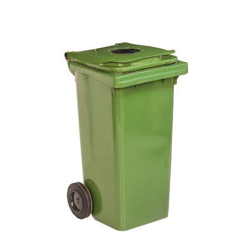 Plastová venkovní popelnice na tříděný odpad s otvorem, objem 120 l, zelená