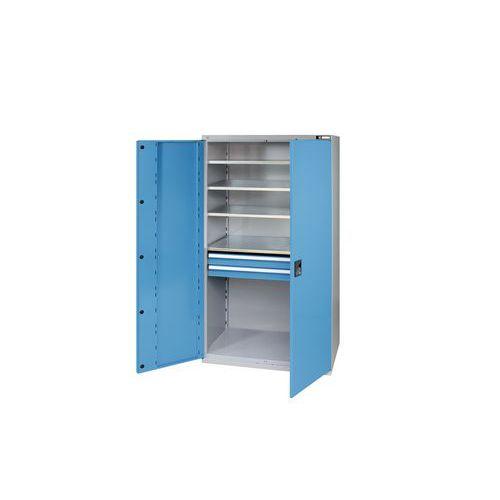 Kovová dílenská skříň, 195 x 104,4 x 62,5 cm, šedá/modrá