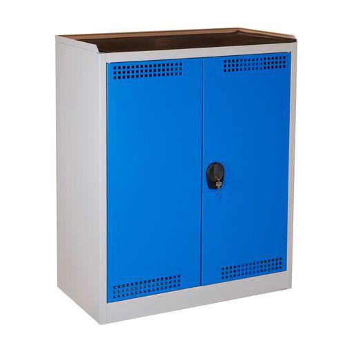 Skříň na uskladnění chemikálií, 950 x 500 x 1 180 mm, šedá/modrá