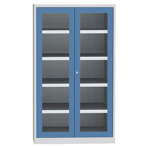 Skříň na kapaliny se skleněnými dveřmi, modro/šedá, 1950x1200x50