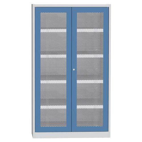 Skříň na kapaliny s drátěnými dveřmi, modro/šedá, 1950x1200x500