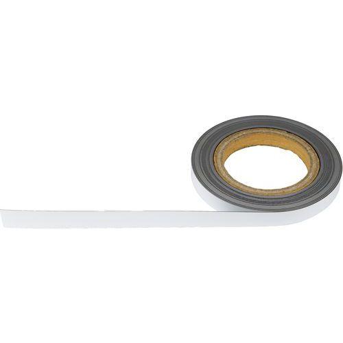 Magnetická páska na regály Manutan, 10 m, bílá, šířka 15 mm
