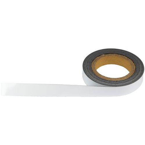 Magnetická páska na regály Manutan, 10 m, bílá, šířka 25 mm