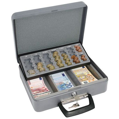 Přenosná pokladna s EUR mincovníkem, 3 přihrádky