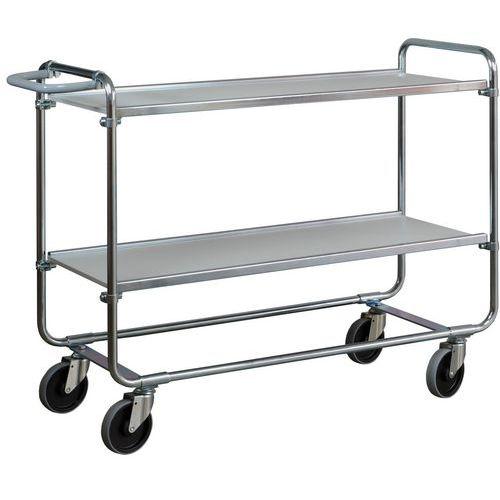 Kancelářský policový vozík Ergobjorn s madlem, do 150 kg, 2 poli