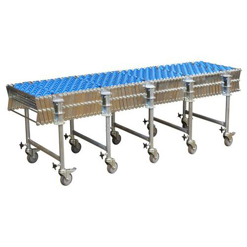 Nůžkový dopravník s plastovými rolnami, šířka 500 mm, 56 os