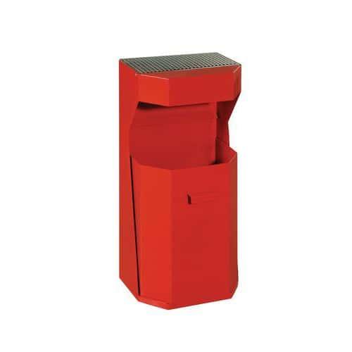 Kovový venkovní odpadkový koš Chafer s popelníkem, objem 50 l, červený