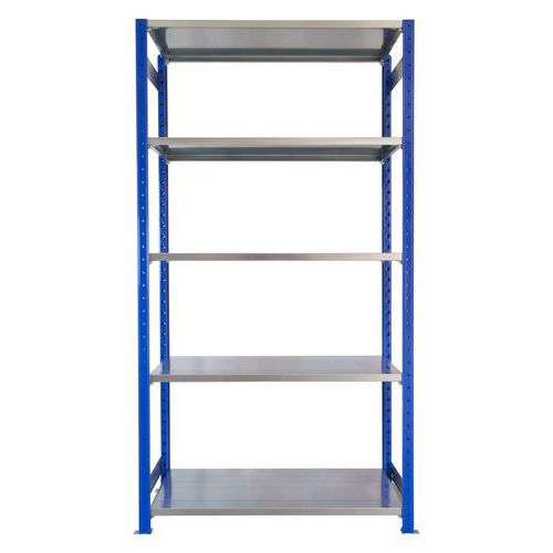 Kovový regál, základní, 200 x 100 x 60 cm, 2 000 kg, 5 polic, modrý
