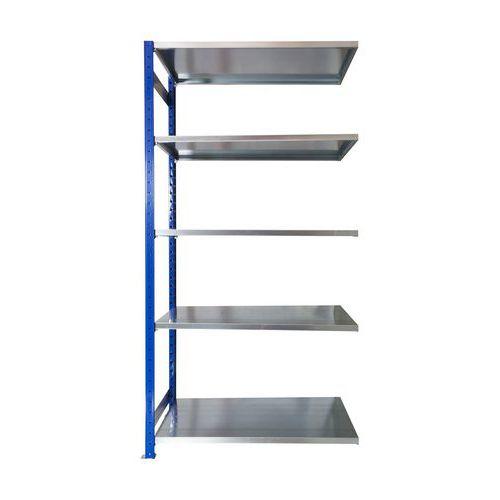 Kovový regál, přístavbový, 200 x 100 x 60 cm, 2 000 kg, 5 polic, modrý