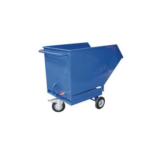Pojízdný výklopný kontejner se sítem, výpustným kohoutem a kapsami pro vysokozdvižný vozík, objem 250 l, modrý