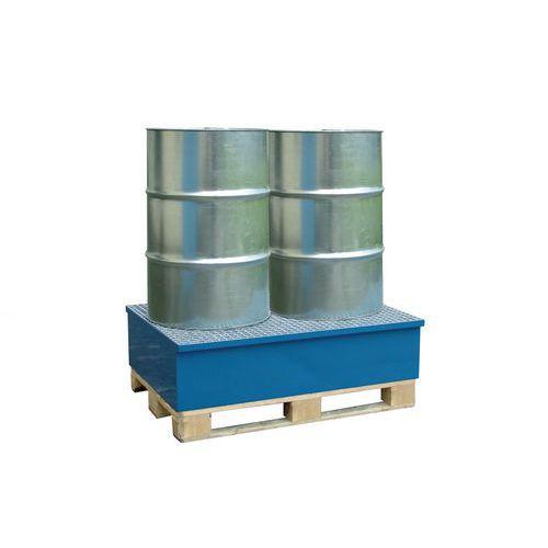 Kovová záchytná vana s roštem, na paletu, pro 2 sudy, lakovaná