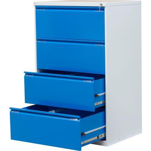 Dvouřadá kovová kartotéka A4 Exe, 4 zásuvky, modrá - Prodloužená záruka na 10 let