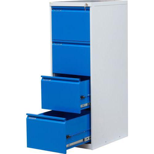 Jednořadá kovová kartotéka A4 Tyne, 4 zásuvky, modrá/šedá - Prodloužená záruka na 10 let