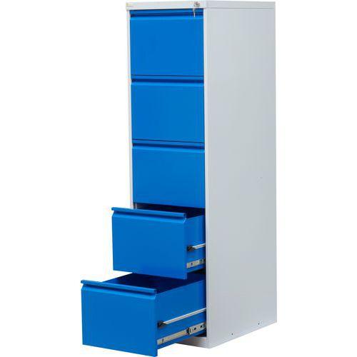 Jednořadá kovová kartotéka A4 Tyne, 5 zásuvky, modrá/šedá - Prodloužená záruka na 10 let