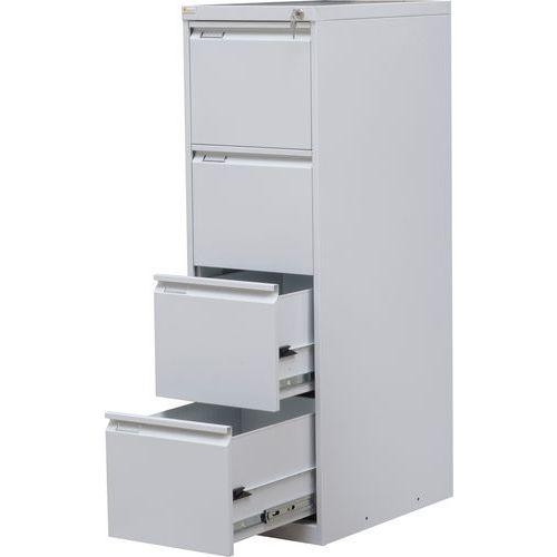 Jednořadá kovová kartotéka A4 Trent, 4 zásuvky, šedá - Prodloužená záruka na 10 let