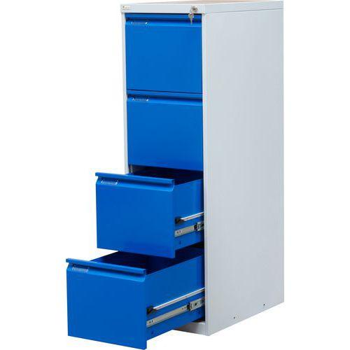 Jednořadá kovová kartotéka A4 Trent, 4 zásuvky, modrá - Prodloužená záruka na 10 let