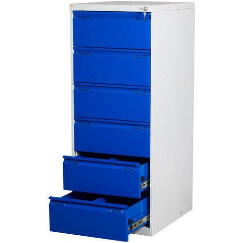 Jednořadá kovová lístkovnice A5 Stour, 6 zásuvek, modrá - Prodloužená záruka na 10 let