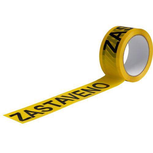 Lepicí páska s nápisem zastaveno, šířka 50 mm, žlutá