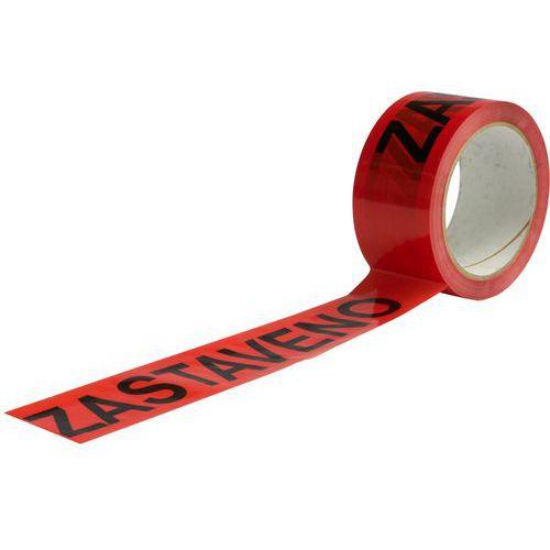 Lepicí páska s nápisem zastaveno, šířka 50 mm, červená