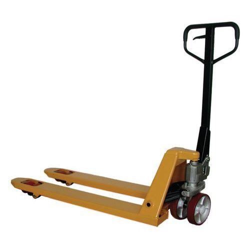 Paletový vozík, do 2 000 kg, s rychlozdvihem, polyuretanová řídicí kola - Prodloužená záruka na 10 let