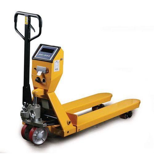 Paletový vozík s váhou a tiskárnou, do 2 000 kg, polyuretanová řídicí kola - Prodloužená záruka na 10 let
