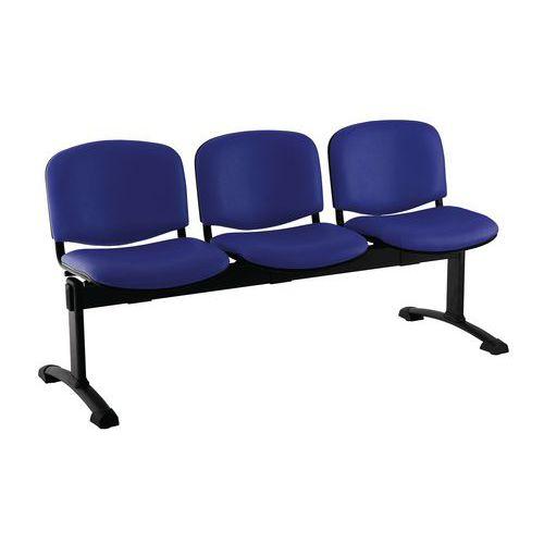 Koženková lavice Ida, třímístná, modrá
