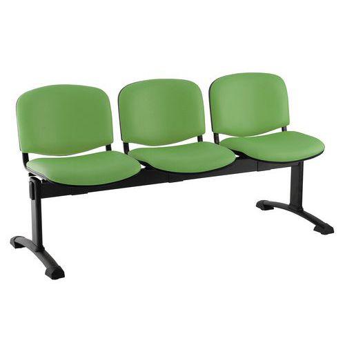 Koženková lavice Ida, třímístná, zelená