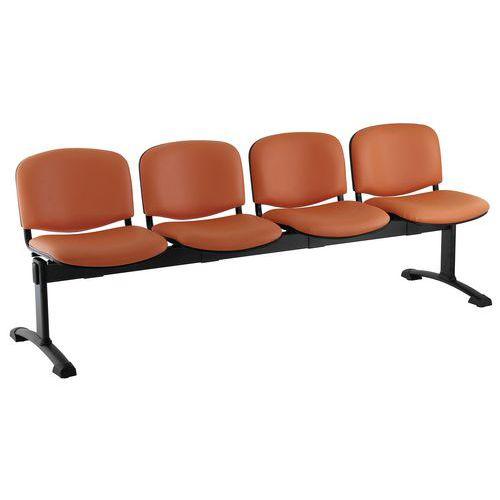 Koženková lavice Ida, čtyřmístná, oranžová