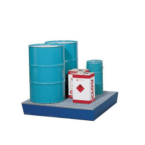Ocelová záchytná vana, na paletu, pro 4 sudy, pozink