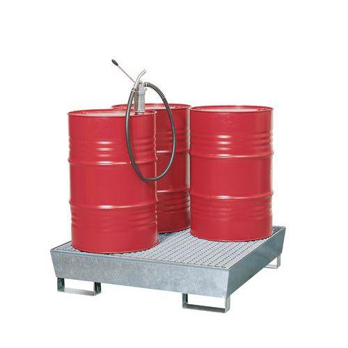 Ocelová záchytná vana s roštem, integrované nohy, pro 4 sudy, pozink