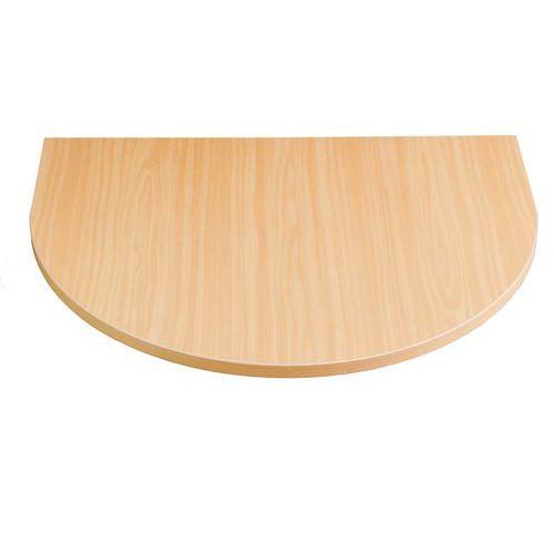 Deska jednacího stolu Combi, 80 x 60 cm, 1/2 kruh, dezén buk
