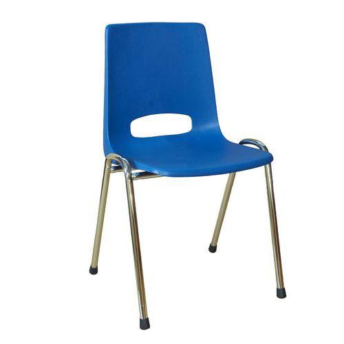Plastová jídelní židle Pavlina Chrom, modrá