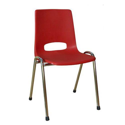 Plastová jídelní židle Pavlina Chrom, červená