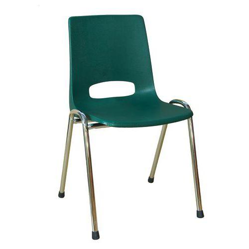 Plastová jídelní židle Pavlina Chrom, zelená