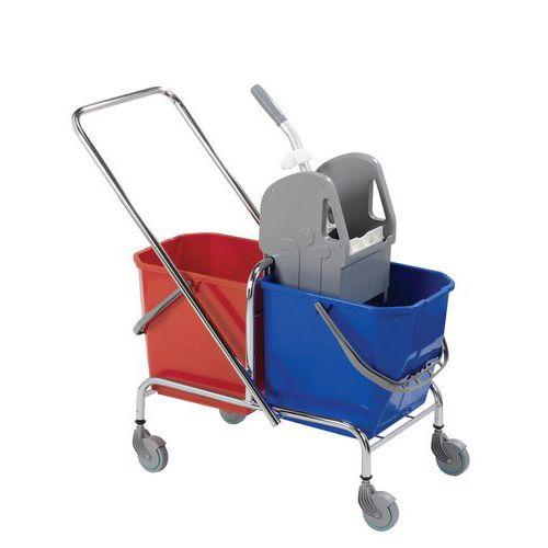 Úklidový vozík s pákovým ždímačem, objem 2 x 15 l