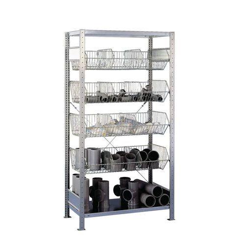 Drátěný regál, základní, 200 x 106 x 53,5 cm, 1 100kg, 6 polic, stříbrný