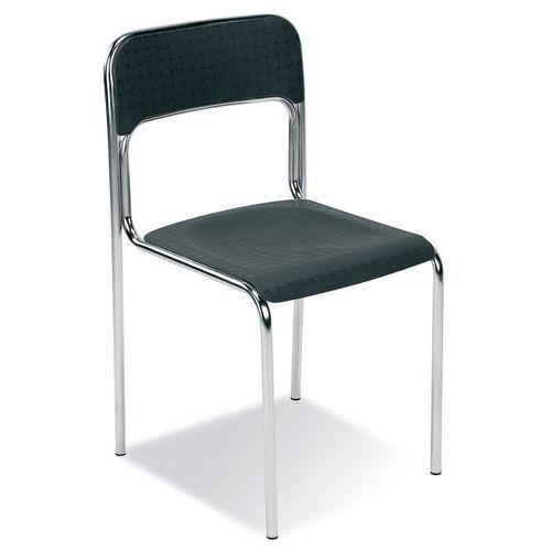 Plastová jídelní židle Cortina Chrom, černá