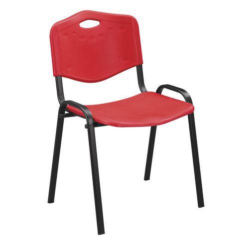 Plastová jídelní židle Manutan ISO, červená