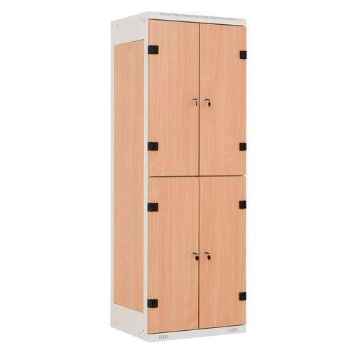 Šatní skříň Albert s dřevěnými dveřmi, 4 boxy, šedá/buk