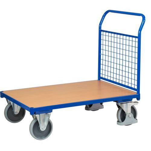 Plošinový vozík s madlem s mřížovou výplní, do 500 kg, 100,6 x 112,5 x 70 cm - Prodloužená záruka na 10 let