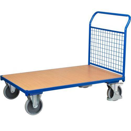 Plošinový vozík s madlem s mřížovou výplní, do 500 kg, 100,6 x 132,5 x 80 cm - Prodloužená záruka na 10 let