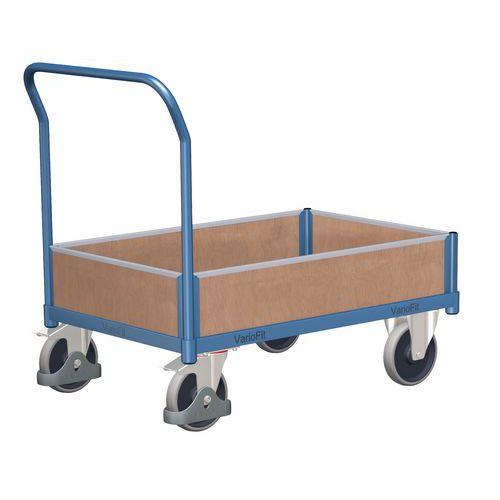 Plošinový vozík s madlem a nízkými plnými bočnicemi, do 500 kg, 100,6 x 132,5 x 80 cm
