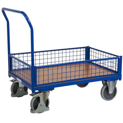 Plošinový vozík s madlem a nízkými mřížovými bočnicemi, do 500 kg, 100,6 x 132,5 x 80 cm