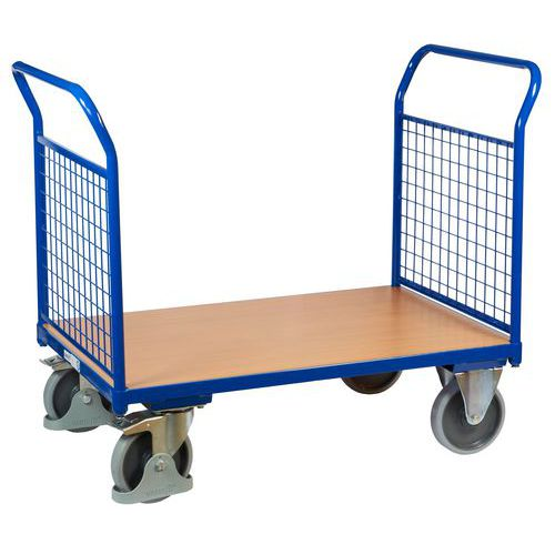Plošinový vozík se dvěma madly s mřížovou výplní, do 500 kg, 100,6 x 119 x 70 cm - Prodloužená záruka na 10 let