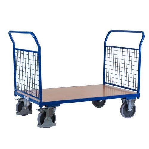 Plošinový vozík se dvěma madly s mřížovou výplní, do 500 kg, 100,6 x 139 x 80 cm - Prodloužená záruka na 10 let
