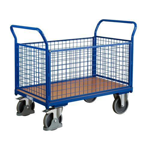 Plošinový vozík se dvěma madly s mřížovou výplní a bočními stěna