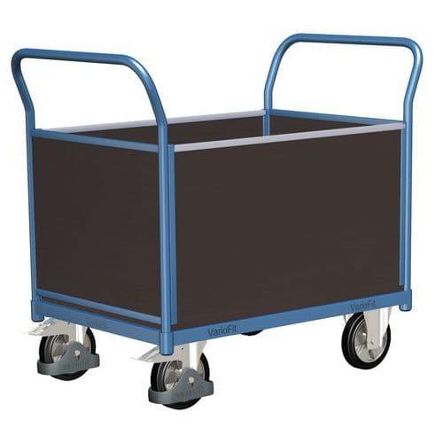 Plošinový vozík se dvěma madly s plnou výplní a bočními stěnami,